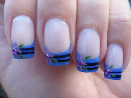 nail art maxresdefault nail art striped blue french tip with