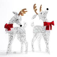 Lighted Deer Lawn Ornaments by Shop Sylvania Pre Lit Reindeer Sculpture With Twinkling White