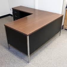 L Shaped Metal Desk Used Left Metal L Shaped Office Desk Black Mahogany Del1536