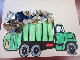 i love this garbage truck collage craft for kids over at