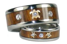 koa wedding bands custom titanium ring set with gold turtles diamonds and koa wood