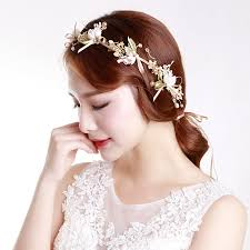 wedding hair bands women gold flower headbands bridal pearl tiaras hair bands