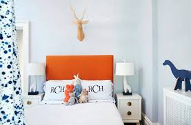 blue and orange boy bedroom with hermes orange ceiling