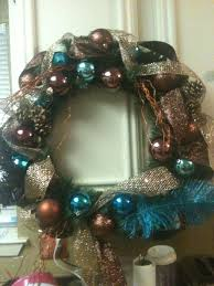 my chocolate and blue wreath i used brown and blue