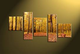 Forest Home Decor by 5 Piece Canvas Yellow Forest Scenery Pictures
