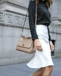 flounce hem pencil skirt and polka dot blouse memorandum nyc