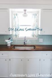 backsplashes light blue gloss subway tile kitchen backsplash light blue gloss subway tile kitchen backsplash white cabinets butcher block countertop cafe kitchen curtains