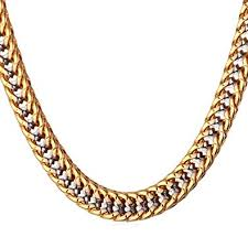 tone gold necklace images Unisex two tone gold jewelry men 6mm wide platinum 18k gold jpg