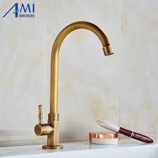 Brass Faucets Kitchen by Aliexpress Com Buy Single Cold Faucet Antique Brushed Brass