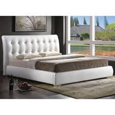 Modern Beds Baxton Studio Jeslyn White Tufted Headboard Modern Bed King Size