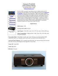 download free pdf for panasonic pt ae3000 projector manual