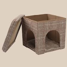 pet cat dog house folding cube mat bed storage ottoman stool rest