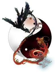red dragon and black phoenix with huge yin yang tattoo design