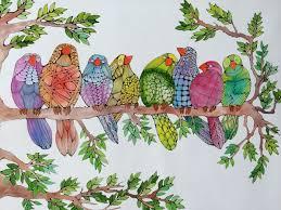 birds on branch linea