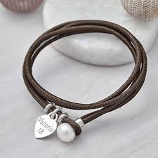 leather bracelet with silver clasp images Personalised silver and leather pearl clasp bracelet by jpg