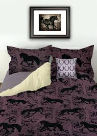 horses at the fence equestrian duvet bedding cover painting pony