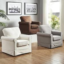 Swivel Glider Chairs Living Room Swivel Rocking Chairs For Living Room Rolled Arm Cotton Fabric