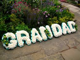 funeral ribbon grandad funeral tribute chrysanthmum based funeral wreath with poly