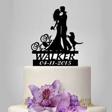 bride and groom silhouette wedding cake topper with dog name and
