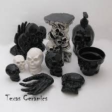 dark gray skull pump dispenser bottle ceramic halloween soap decor