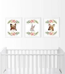 Baby Deer Nursery Woodland Nursery Decor Deer Bunny Fox Watercolor Floral Wall Art