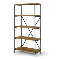 etagere metal ailis 67 brown pine wood shelf etagere bookcase media center with