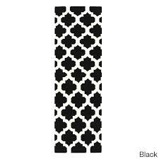 White Runner Rug Sophisticated Black And White Runner Rug Woven Trellis Wool