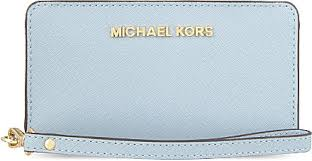 michael kors light blue wallet lyst michael michael kors jet set wristlet tech wallet in blue