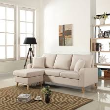 Fabric Sectional Sofas With Chaise Amazon Com Modern Linen Fabric Small Space Sectional Sofa With