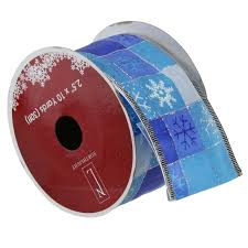 ribbon spools pack of 12 squares of blue snowflake wired christmas craft ribbon