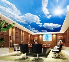 modern minimalist blue sky white sky zenith ceiling wall 3d
