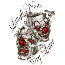 tattoo joker mask laugh now cry later horror two clown mask tattoo design b