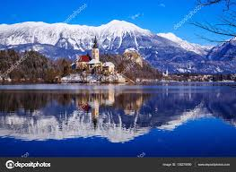 lake bled lake bled in winter bled slovenia europe stock photo
