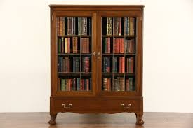 sold walnut 1920 antique library bookcase leaded glass doors
