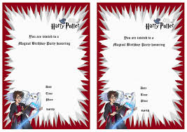 Birthday Invite Cards Free Printable Templates Harry Potter Birthday Invitations