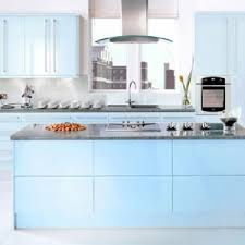 agreeable soft blue color kitchen cabinets come with grey color