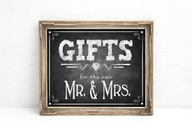 wedding gift table sign rustic chalkboard wedding sign printed gifts for mr mrs gifts