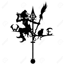 witch silhouette clipart illustration a silhouette of a wind vane a witch and a cat are