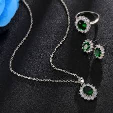 wedding jewelry necklace sets images Fashion blue crystal stone wedding jewelry sets for brides silver jpg