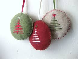 felt and embroidered tree ornament