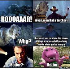 Barney Meme - barney eat a snickers by dalai lamarinedes meme center