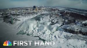 drone footage frozen niagara falls nbc nightly