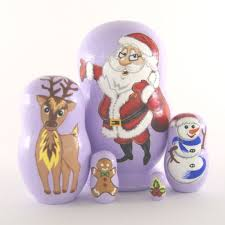vaskin gifts christmas nesting dolls blue 5pcs xmas santa