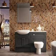 all in one toilet and sink unit picton charcoal grey shaker matt bathroom vanity units all sizes ebay