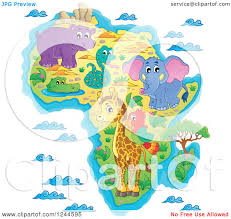 Maps Of Africa by Clipart Of A Map Of Africa With Wild Animals And Ocean Waves