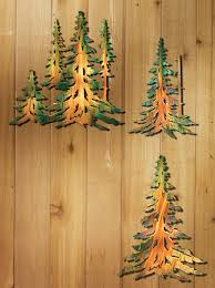 wooden pine tree wall pine trees metal wall wings