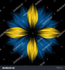 Flag Flower Flower Sweden Flag Colors On Black Stock Illustration 46992550