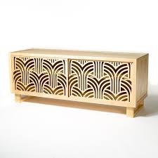 beautiful art deco credenza cabinet featuring laser cut doors