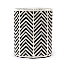 black and white side table kiara side table in cream black horn design by interlude home
