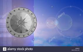 abstract 3d sky background with vault door and lens flare stock